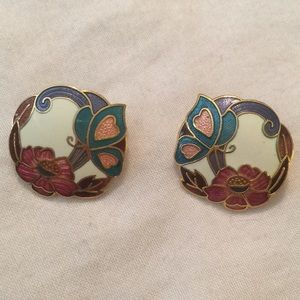 Vintage Pierced Earrings Floral Gold